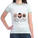 Peace Love Border Terrier Jr. Ringer T-Shirt