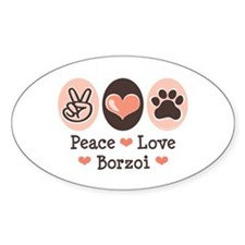 Peace Love Borzoi Oval Decal