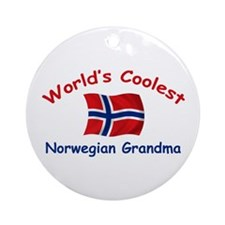 Coolest Norwegian Grandma Ornament (Round)