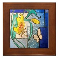 Lily and Butterfly Framed Tile