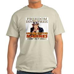 U.S. Marines Freedom Isn't Free Ash Grey T-Shirt