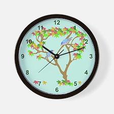 Asian Blue Birds Wall Clock