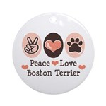 Peace Love Boston Terrier Ornament (Round)