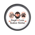 Peace Love Boston Terrier Wall Clock