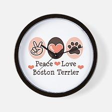 Peace Love Boston Terrier Wall Clock