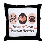 Peace Love Boston Terrier Throw Pillow