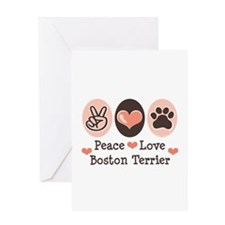 Peace Love Boston Terrier Greeting Card
