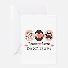 Peace Love Boston Terrier Greeting Card