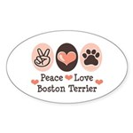 Peace Love Boston Terrier Oval Sticker