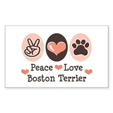 Peace Love Boston Terrier Rectangle Decal
