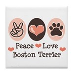 Peace Love Boston Terrier Tile Coaster