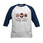 Peace Love Boston Terrier Kids Baseball Jersey