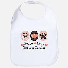 Peace Love Boston Terrier Bib