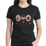 Peace Love Boston Terrier Women's Dark T-Shirt