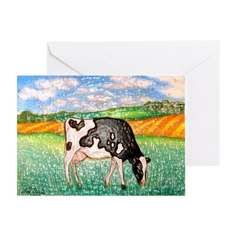 Cow in Meadow Greeting Card