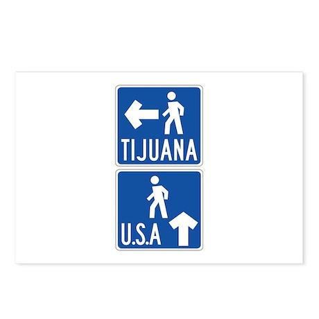 Pedestrian Crossing Tijuana-USA, US Postcards (Pac