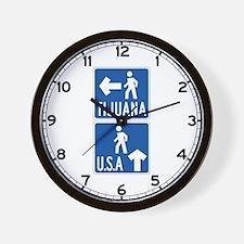 Pedestrian Crossing Tijuana-USA, US Wall Clock