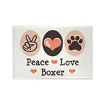 Peace Love Boxer Rectangle Magnet (10 pack)