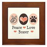 Peace Love Boxer Framed Tile