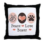 Peace Love Boxer Throw Pillow