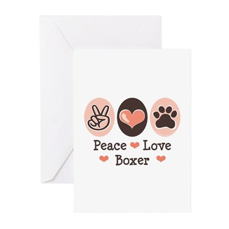 Peace Love Boxer Greeting Cards (Pk of 20)
