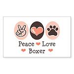 Peace Love Boxer Rectangle Sticker