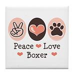 Peace Love Boxer Tile Coaster