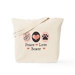 Peace Love Boxer Tote Bag