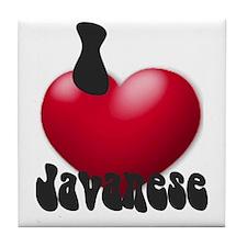 'I Love Javanese' Tile Coaster