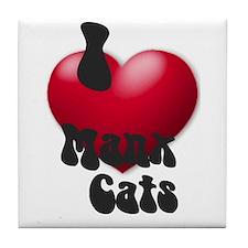 """""""I Love Manx!"""" Tile Coaster"""