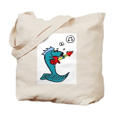 Fish Playing Guitar Tote Bag