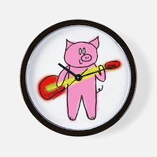 Pig Playing Guitar Wall Clock