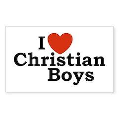 I loves Christian Boys Rectangle Decal