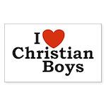 I loves Christian Boys Rectangle Sticker