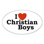 I loves Christian Boys Oval Sticker