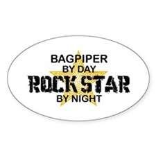 Bagpiper Rock Star Oval Decal