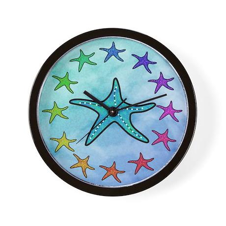 Colorful Starfish Wall Clock