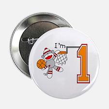 "SockMonkey Hoops First Birthday 2.25"" Button"