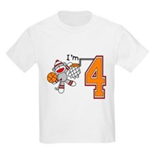 SockMonkey Hoops 4th Birthday T-Shirt