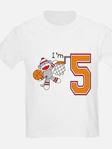 SockMonkey Hoops 5th Birthday T-Shirt