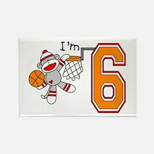 SockMonkey Hoops 6th Birthday Rectangle Magnet