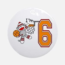 SockMonkey Hoops 6th Birthday Ornament (Round)