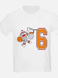 SockMonkey Hoops 6th Birthday T-Shirt