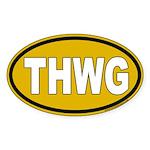 THWG Gold Background Oval Sticker