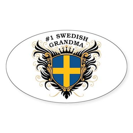 Number One Swedish Grandma Oval Sticker
