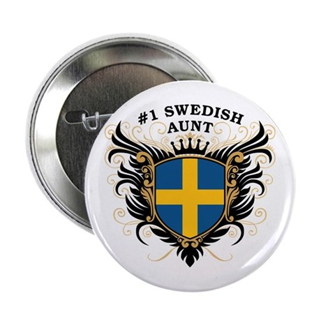 """Number One Swedish Aunt 2.25"""" Button"""