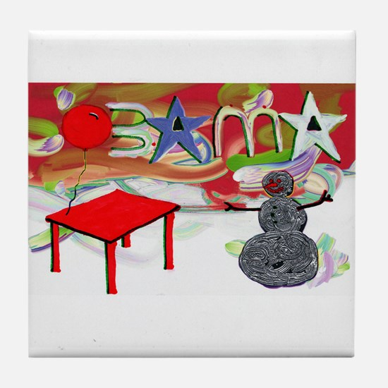 Obama Table Snowman (2) Tile Coaster