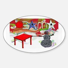 Obama Table Snowman (2) Oval Decal