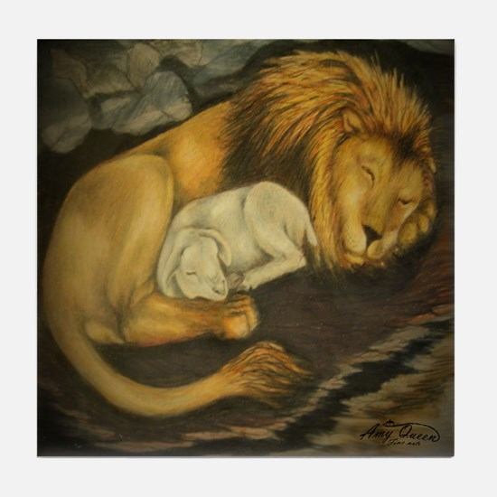 The Lion and the Lamb Tile Coaster