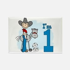 Stick Cowboy First Birthday Rectangle Magnet